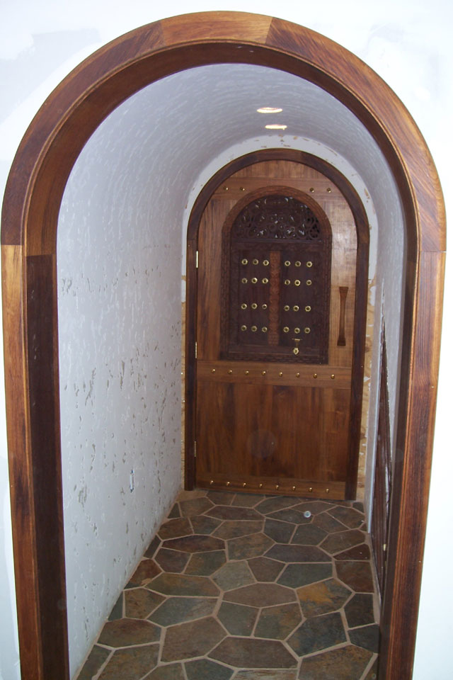Solid Teak Full Arched Entry Door With Carving And Br Spikes